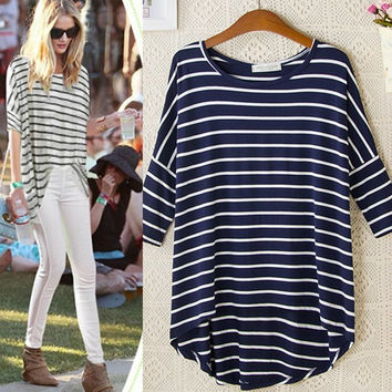 Stripe Asymmetrical Sleeve Shirt