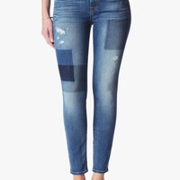 Ankle Skinny in Light Patched Denim