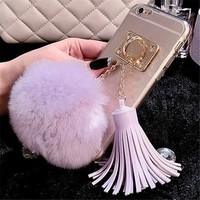 light purple tassel pom clear case