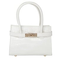 Mini Birkin Style Top Handle Croc Embossed Bag w/ Crossbody Strap
