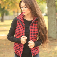 Buffalo Plaid Vest (Crimson)