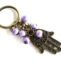 Hamsa Keychain Bag Charm Keyring Protection Yoga Accessories Purple Christmas Stocking Stuffer Unique Gift Under 10 Item J46