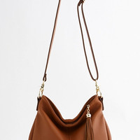 Brown Leather Hobo Bag. Genuine Leather Ladies Handbag. Fringe Camel Leather Shoulder Bag