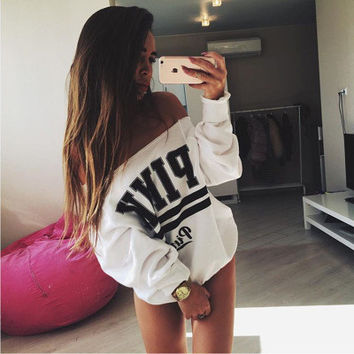 """ Pink ""  Women's Trending Popular Fashion Sexy Loose Off Shoulder Boat Neckline Victoria Secret Printed Sweatshirt Shirt Top Blouse _ 9323"