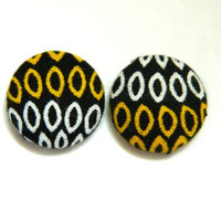 Button Earrings Mustard- Yellow White Black Abstract