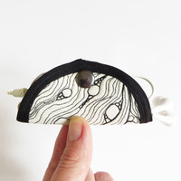 Whimsical illustrated design bags and home KusKatStudio, eco concious | Natural earphone holder - cable organizer