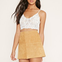 Crochet-Front Lacy Cropped Cami