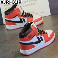Women Shoes 2018 Spring Retro Womens Shoes Womens Fashion Sneakers Ulzzang Casual Shoes Thick Sole Flat Heels High Top Sneakers
