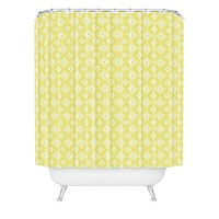 Caroline Okun Yellow Spirals Shower Curtain