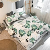 100% Cotton bedding set big tropical leaves and black dot duvet covers 3/4pcs bed linen black and white stripe bed sheets queen