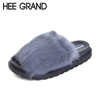 HEE GRAND Fur Slippers Platform Beach Shoes Woman 2017 Creepers Autumn Winter Slides Casual Flats Slip On Women Shoes XWT540