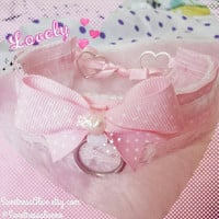 Pastel Pink Polkadot, White Velvet ,  Pink Lace and White Ruffles Collar with Pink Bow & Pearl; ribbon heart closure