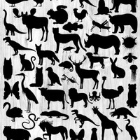 Animal Silhouette Bundle 50 Silhouettes Clipart Woodland, Jungle, Sea Life, Insects, Dinosaurs, Reptiles, Farm, Pets, Digital Animal Clipart