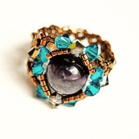 Swarovski crystal beaded ring stretch ring amethyst gemstone birthstone ring bronze blue