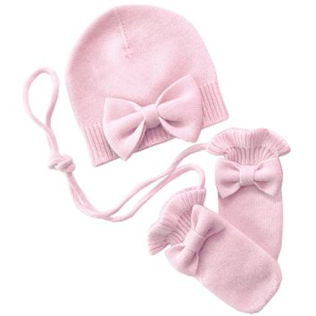 Bow Hat with mittens Cashmere in Pink