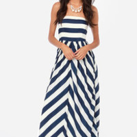 Dreamboat Come True Ivory and Navy Blue Striped Maxi Dress