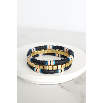 Nautical Heishi Bracelet Set in Blue and pink