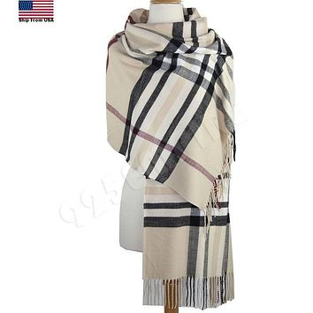 Oversized Plaid Check Blanket 100% Cashmere Scarf