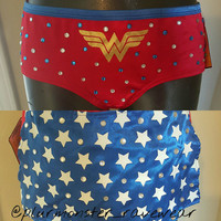 Wonder Woman decorated costume shorts medium size- bling wonder woman rave hipster breifs with detachable cape on back- wonder woman bottoms