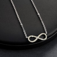 Micro Pavé Mini Eternity Symbol Sterling Silver Necklace For Woman