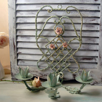 Sea Glass Green Painted Metal Wall Candle Holder, Paris Chic Green Painted Wall Sconce with Pink Metal Roses, Cottage Chic, Nursery Decor