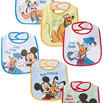 Baby Essentials Baby-Boys Newborn 6 Pack Mickey Mouse and Friends Bibs, Assorted, One Size