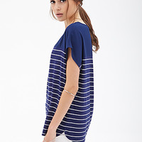 FOREVER 21 Boxy Striped Knit Top Navy/Cream