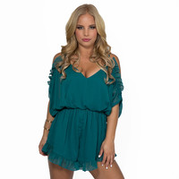 Waves Of Ruffles Romper In Teal