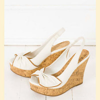 MIA Honeybee Wedge in White                    - Francesca's Collections
