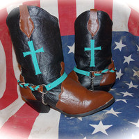 Hand Painted Women's Western Cowboy Boots - Turquoise Cross - Braided Leather Boot Chain