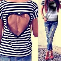 DCCKJ2X ON SALE HOT STRIPE BACKLESS HEART TOP