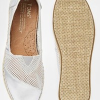 TOMS Silver Mesh Espadrille Slip On Shoes