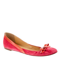 J.Crew Womens Suede Ballet Flats With Bow