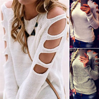 Round-neck Pullover Sweater Hot Sale Sexy Long Sleeve Knit Bottoming Shirt [9582220815]