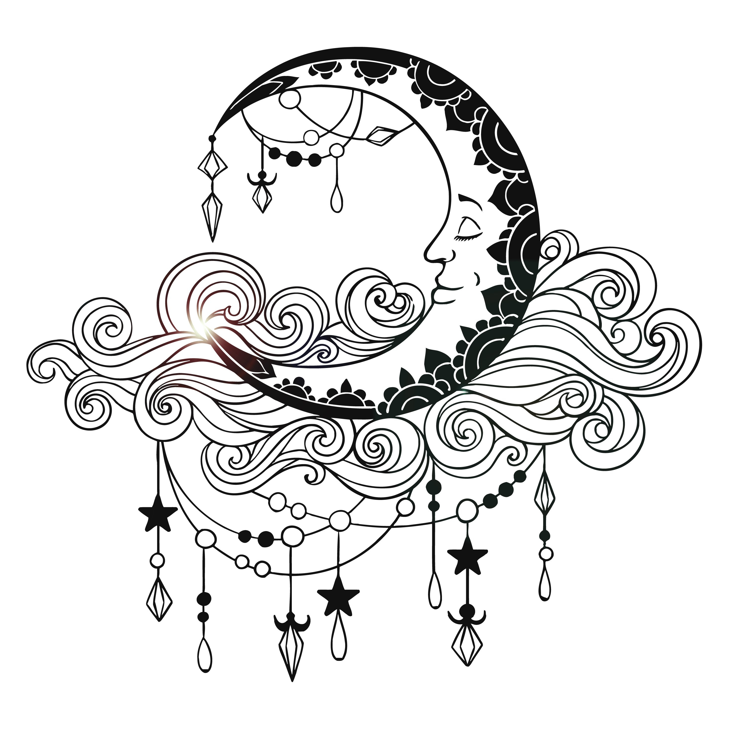 Image of Vinyl Wall Decal Moon Clouds Bedroom Decor Stickers Mural Unique Gift (ig3694)