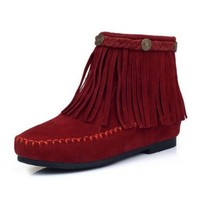 ZLYC Bohemian Tasseled Ankle Boots for Ladies