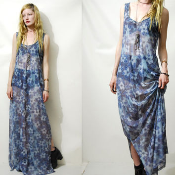 90s Vintage SHEER DRESS Floral Mesh See-through Club Kid Grunge Long Maxi 1990s vtg l xl