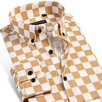 Men's Checkerboard Print Dress Shirt Long-sleeve Comfort Soft Slim-fit Button-Down Contrast Color Plaid Shirts