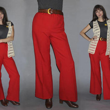 Vintage 70s HIGH WAISTED SAILOR Pants / Bold Groovy Red Flares / Wide Leg Bell Bottoms / Elastic Waist / Boho, Hippie / Med Large