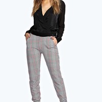 Louise Dogstooth Check Crepe Trousers