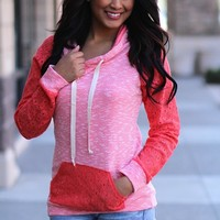 Two Tone Hooded Lace Sweater (Coral)