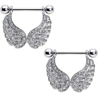 """5/8"""" Clear Gem Paved Wings of an Angel Dangle Nipple Ring Set"""