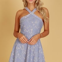 Crossed Fit and Flare Lace Dress Blue Grey