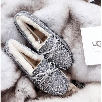 UGG Sequined bow-knot non-slip abrasion resistant rubber sole