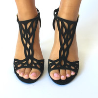 Cascading Cut Out Heels In Black