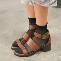 Buckled Ankle Strap Mid Heel Sandals