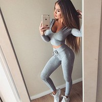 Pure Color Crop Top with Skinny Pants Two Pieces Sports Set