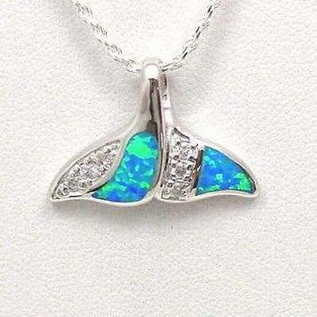 INLAY OPAL HAWAIIAN WHALE TAIL PENDANT 925 STERLING SILVER CZ