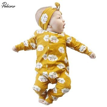 2 Pcs Newborn Baby boys Girls Cute Clouds Romper+Headband Set Infant Babies Kids Cloud Rompers one-pieces Outfits Kids Clothing