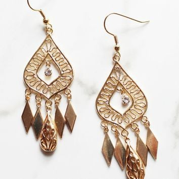 Bohemian Babe Chandelier  Earrings-18K Gold Plated